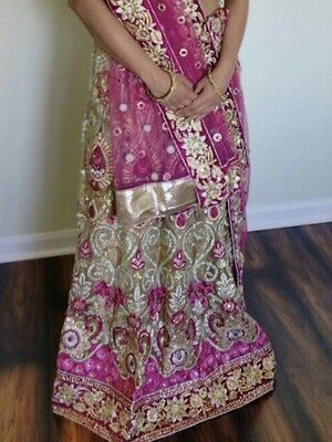 Indian Bridal Lehenga, Heavy Embroidery, Bright Pink, Wedding Reception