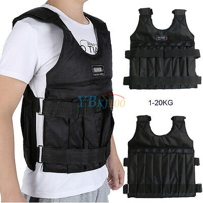 Adjustable Max Load 20kg Weighted Vest Jacket Training Waistcoat Top Quality New