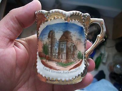 Early Souvenir China Jacksonville Illinois Cup Court House Picture Gold Leaf