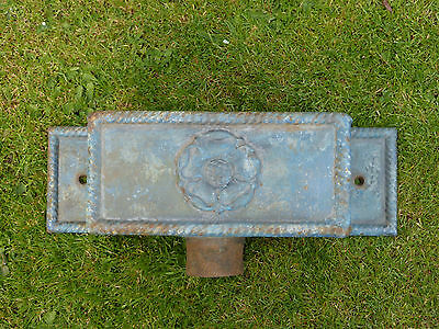 Victorian cast iron hopper head with rope edging and Yorkshire rose + fixing lug