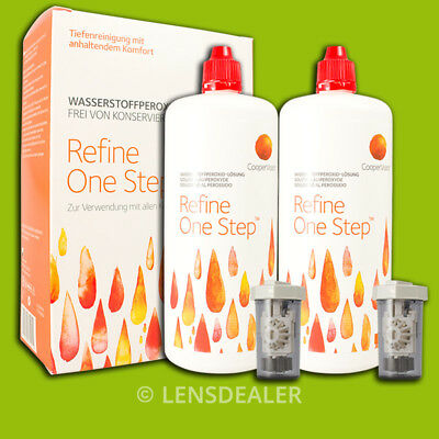 »» REFINE ONE STEP 2x 360ML DOPPELPACK PEROXIDLÖSUNG KONTAKTLINSEN PFLEGEMITTEL«