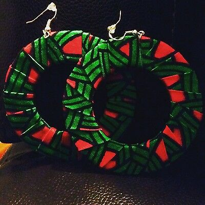 Green & Pink Ankara Print Large Hoop Earrings