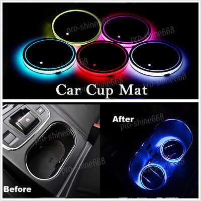 2PCS RGB Color Car Cup Holder Bottom Pad Mat Cover Trim LED Light USB For Benz