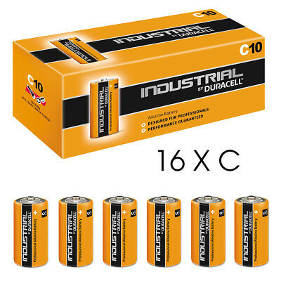 16 Duracell Industrial C Alkaline Batteries Replaces Procell MN1400 1.5V LR14