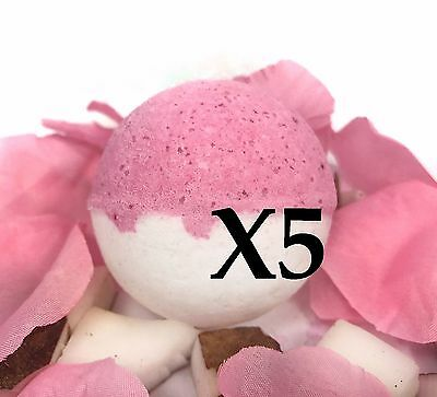 5 Large Bath Bombs -Tropical Fruit Scent- Cherry Colada - Handmade by Luxxy