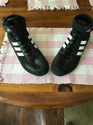 Adidas Mens Wrestling Shoes Size 13 High Top Black White APE 779001 Lace Up