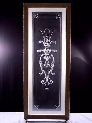 "Antique French Etched Glass Window or Door with Flowers 1/4"" Thick Glass"