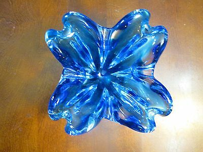 Vintage Signed Chantili by Chalet Canadian Art Glass Blue Ashtray