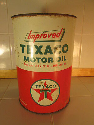 RARE LARGE VINTAGE 5 Quart Qt. Oil Can Improved TEXACO USA