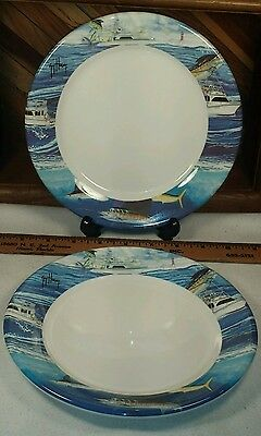 Guy Harvey 8 inch Pie Plate Snack - The Galleyware company Lot of 2 & GUY HARVEY 8 inch Pie Plate Snack - The Galleyware company Lot of 2 ...