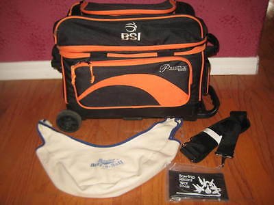 BSI Prestige Series Deluxe 2-Ball Wheeled Bowling Bag – Roller + Extras