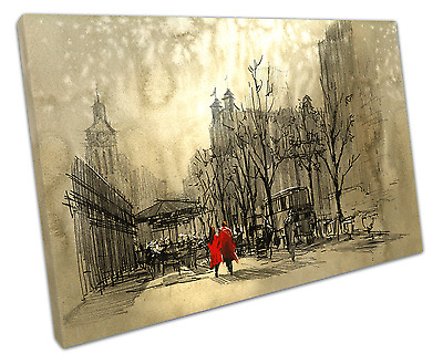Couple In Red Canvas Wall Art Picture Large 75 X 50 Cm