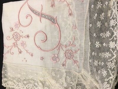 Vintage Lace and Embroidery - Monogramed 'F' Handkerchief