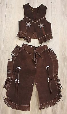 Showman Kid's Suede Leather Western Chaps & Vest Set