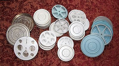 Large Collection of Vintage Metal Film Reels with Metal Canisters; Various Sizes