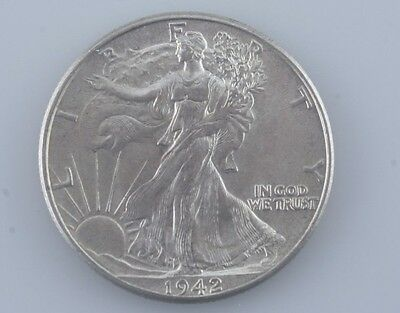 1942 Walking Liberty Silver Half Dollar Choice 50c (BU) Brilliant Uncirculated