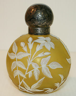 Cameo Glass PERFUME BOTTLE Vintage Sterling Silver Cap Etched Yellow RARE