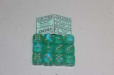 Chessex Light Green/Gold Dice Block 12 Borealis 16mm Pipped D6 Dice CHX 27625
