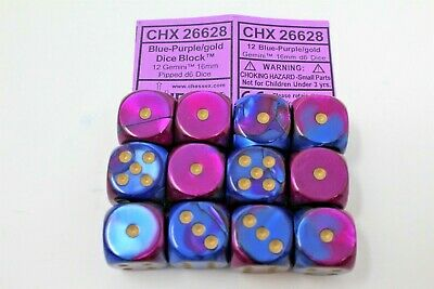 Chessex Blue-Purple/Gold 12 Gemini 16mm Pipped D6 Dice CHX 26628