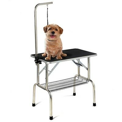 """Portable Foldable Pet Dog Grooming Table Adjustable Arm Noose 31"""" Non Slip"""