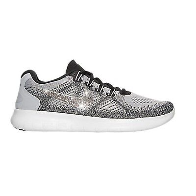 23a19bca89be0 Bling Nike Free RN 2017 Running Shoes w  Swarovski Crystal Logo   Grey