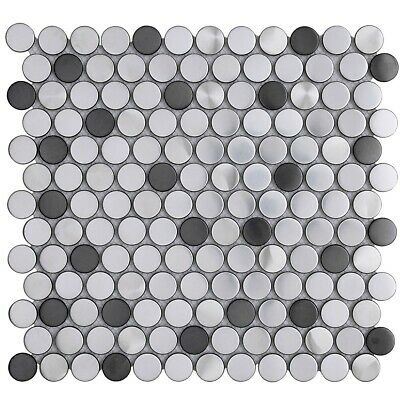 Penny Round Black Silver Stainless Steel Metal Mosaic Tile For Backsplash Wall