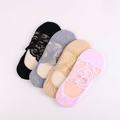 Women Cotton Lace Flower Short Sock Antiskid Invisible Liner Low Cut Socks 1Pair