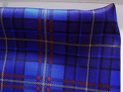 "NEW MENS 100% SILK POCKET SQUARE, 14""x14"" ,  CHECKED BLUE, ITALY"