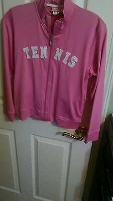 "LITTLE MISS TENNIS Girls Pink ""Tennis""  Zip Up Jacket Size L(14) New with Tags"