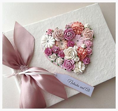 Beautiful LARGE Personalised Vintage Floral Wedding Guest Book.Various Colours