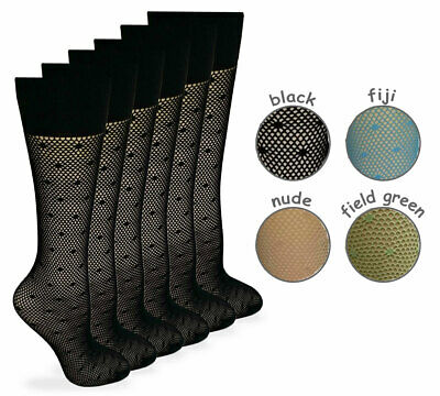 Women's Fishnet Stocking with Dot Pattern Knee High Hosiery (6 Pair Pack)