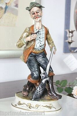 HUNTER VINTAGE LARGE PORCELAIN CAPODIMONTE H cm 33 MADE ITALY - FIGURE PERIOD