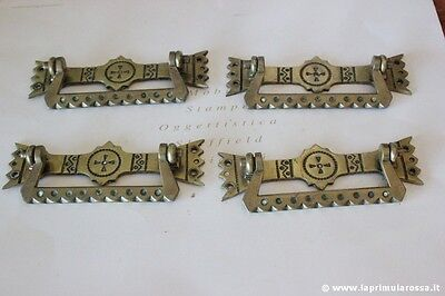 art.247 - QUATTRO HANDLES ANCIENT BRASS SOLID FURNITURE L.cm13,5