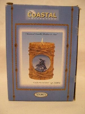 Coastal Collection Nautical  W/ Dolphin   Candle Holder W/ Candle