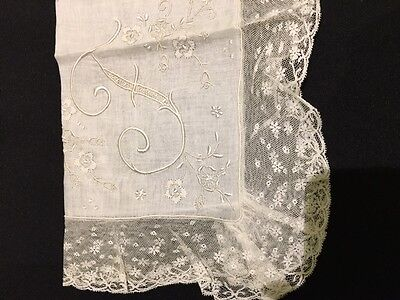 Vintage Lace and Embroidery - Monogramed 'F' Handkerchief - White on White