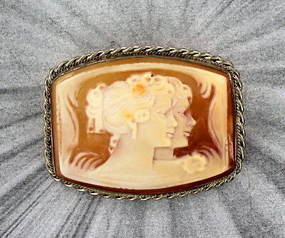 Vintage Shell Cameo Pendant, Necklace,  Sterling Silver  Pendant Or Pin