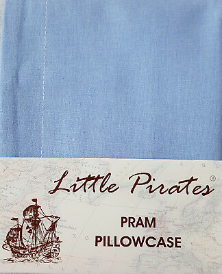 BRAND NEW BABY PRAM/COTBED PILLOWCASE 100% COTTON in BLUE