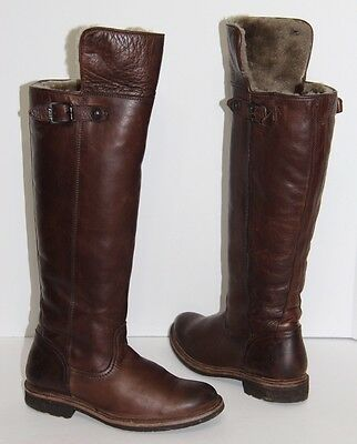3b671e94305 FRYE Womens Valerie Shearling OTK Boots Dark Brown Soft Vintage Leather  Size 6.5