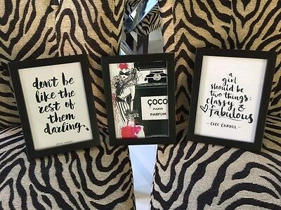 """Set of 3 Black framed photos Coco Chanel Quotes 7 X 5"""""""
