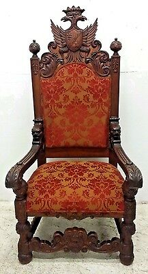 Phenomenal Antique Oak Throne Chair w/ Carved Eagles & Faces