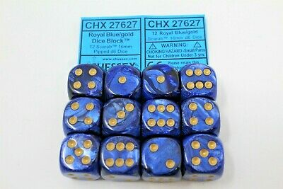 Chessex Royal Blue/Gold 12 Scarab 16mm Pipped D6 Dice CHX 27627