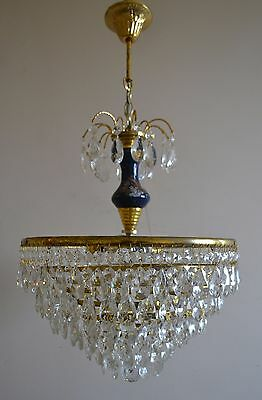 Vintage Antique French Basket Style Brass Crystals Blue Chandelier Ceiling Lamp