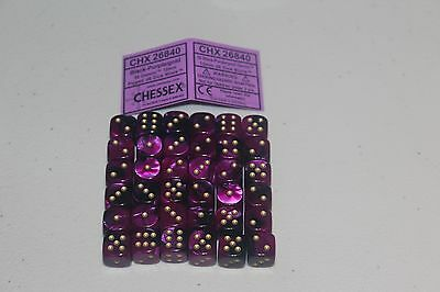 Chessex Black Purple Gold 36 Gemini 12mm Pipped Dice CHX 26840