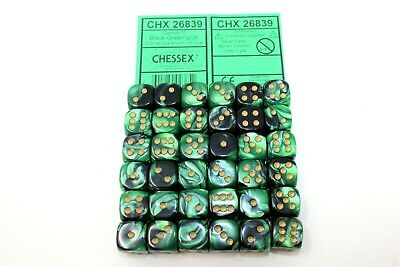 Chessex Jade with Gold 36 Scarab 12mm Pipped Dice CHX 27815