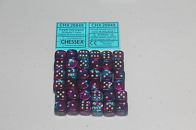 Chessex Purple Teal with Gold 36 Gemini 12mm Pipped Dice CHX 26849