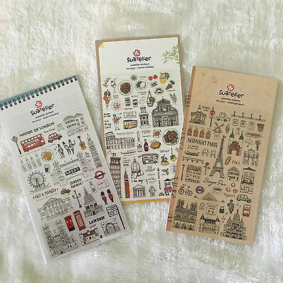 Paris Rome London UK France Italy Holiday Travel PVC Stickers Scrapbook diy