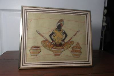 1983 (34 yrs old Painting on cloth from Nairobi Africa of African woman making p