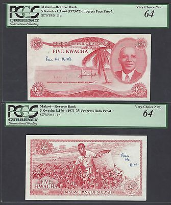 Malawi Obverse & Reverse 5 Kwacha L.1964(1973-75) P11p Die Proofs Uncirculated