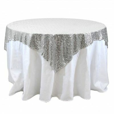 8 lot Sequin Table Overlay 54x54 inch Sparkly Tablecloth 3 COLORS Wedding Cake