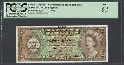 British Honduras  20 Dollars 1-5-1965 P32bs Specimen Uncirculated